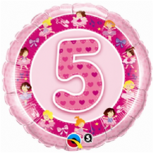 "Age 5 Pink Foil Balloon (18"") 1pc"